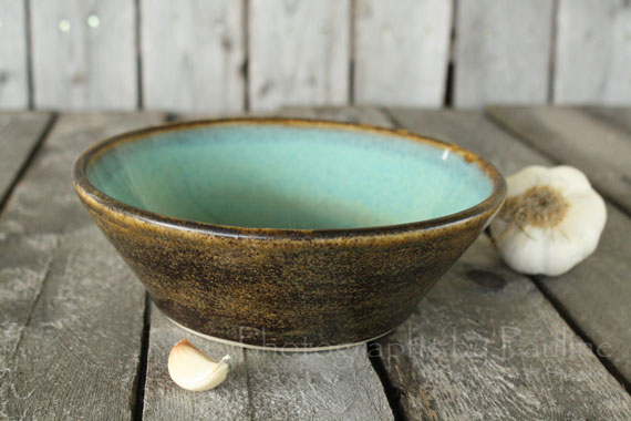 Love this glaze combination of brown and turquoise.  :)