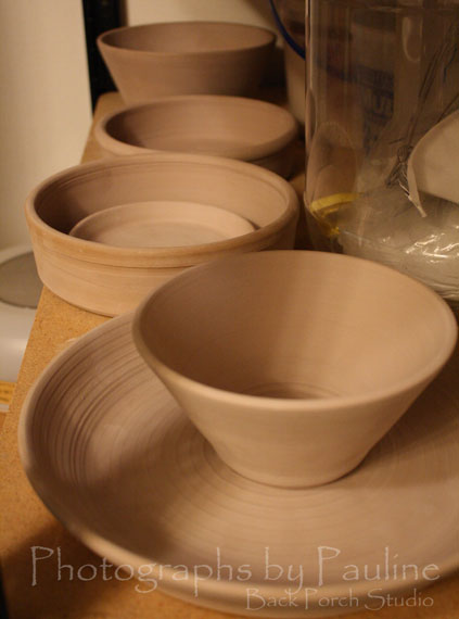 Yesterday's work: one platter, two bowls, two large pet dishes! :)