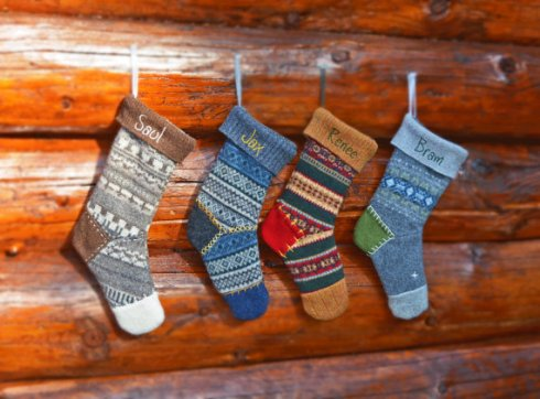 These adorable upcycled stockings made from  felted wool sweaters caught my eye!