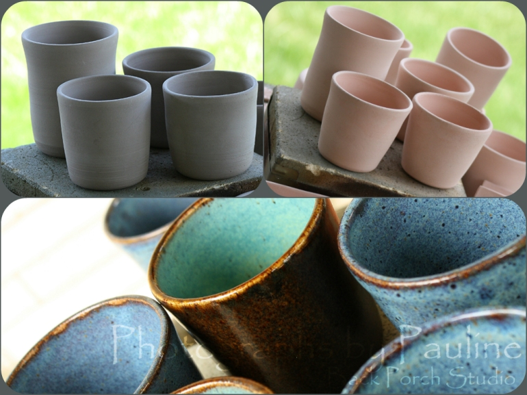 Stages of clay tumblers: (left upper photo) green ware - unfired; (right upper photo) bisqueware - first firing ready for glaze application; (bottom photo) final product!