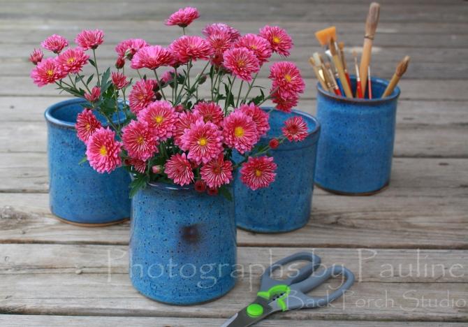 Stoneware Blue Kitchen Desk Caddies, Vase