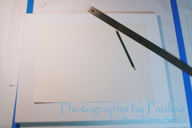 I laid the template on top of the canvas. I wanted the bottom margin wider than the other three sides to bottom weight the image. After measuring each side several times, I lightly penciled around the template.