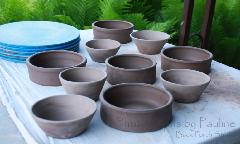 Pet dishes and kitchen prep bowls from ten pounds of clay.