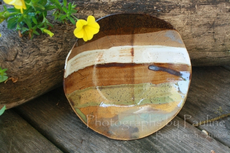 This bowl is new and I tried seven different glazes to see the effect.