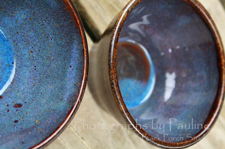 A new glaze combination - brown on the outside with hues of purples and blues on the inside.