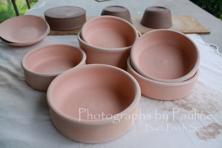 More pet bowls. One of my best sellers. This bunch will be blue and cream like these.